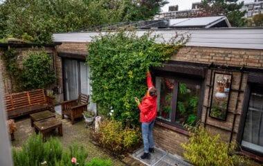 Gerdien wijst naar haar dak.